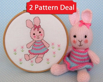 NEW - Candytuft – 2 pattern deal - bunny rabbit cross stitch and knitting pattern – PDF instant download