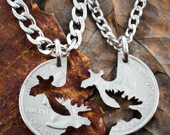 Moose Couples necklaces, His and Her matching Jewelry, Hand cut coin