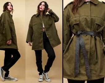 70s 80s Vtg Military Slovakian Army Green Anorak Cotton Jacket / Oversized Drawstring Waist Layering Coat MINIMALIST Utilitarian / OSFM