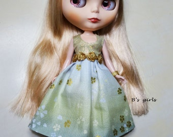 Blythe Party dress Gold Roses