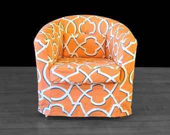 Orange Patterned IKEA TULLSTA Chair Slipcover