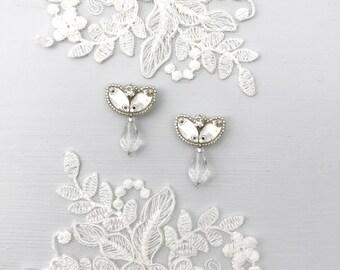 Silver crystal wedding drop earrings, Silver wedding earrings