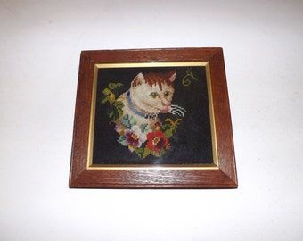 Antique late Victorian cat wool work tapestry sampler woolwork in original frame