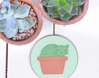 Cat Coaster / Cactus Lover Gift / Cactus Coaster / Gifts For Cat Lovers / Cactus Gifts / Funny Coaster / Stocking Stuffer / Stocking Fillers