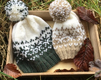 KNITTING PATTERN in PDF - Woolly Snowflakes Hat - Woolly Hat, Messy Bun Hat, Instant Download