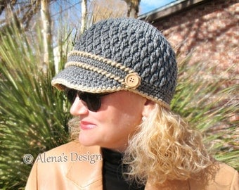 Crochet Pattern 093 - Crochet Hat Pattern Hat Crochet Pattern for Two-Button Visor Hat  Boys Hat Girls Children Hat Teens Unisex Winter Hat