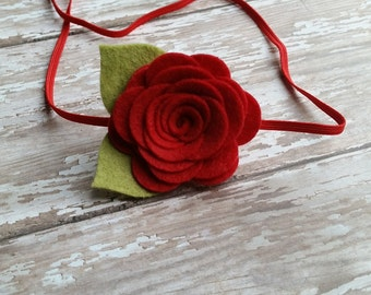 Felt Rose Headband,Red Rose,Felt Flower Headband,Newborn Baby Headband,Toddler Girls Headband,Single Rose Headband,Valentines Day,Christmas