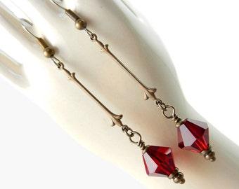 Art Nouveau Earrings, Red, Ruby, Dangling Earrings, Sparkling, Long earrings