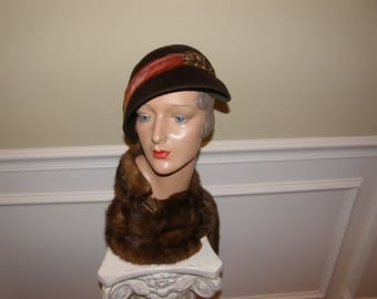 Vintage 30s Hat French Velour Flapper Cap with Bird Dark Brown with Multicolored Feather Dips Over One Eye