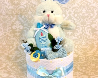 Baby Boy one tier Blanket Diaper Cake - an adorable baby shower gift, available now and ready to ship