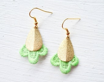 Lace Earrings in Gold and Lime Green