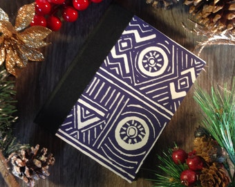 Blank notebook / journal, Blue African pattern, 128 pages, cotton sheets, fabric hard spine, for sketching, drawing or writing
