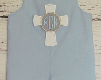 Boys Easter Baptism Christening Longall Shortall Monogram Cross Applique Romper First Easter Outfit Baby Blessing