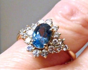 London Blue Topaz and Diamond Vintage Ring in 14K Yellow Gold, Diamond Cluster Ring