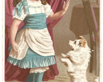 Cute Little Girl with White Dog Antique French Trade Card Chromo Chromolithograph from Vintage Paper Attic