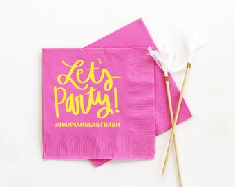 Personalized Napkins Bachelorette Party Supplies Custom Printed Cocktail Napkins Bachelorette Party Decorations Customized Beverage Napkins