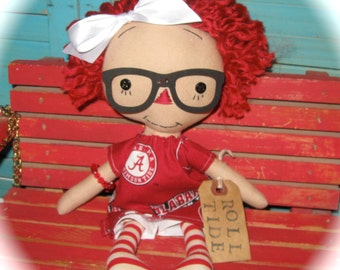 Primitive Alabama Fan Girl Raggedy Doll with Roll Tide Tag OOAK Handmade