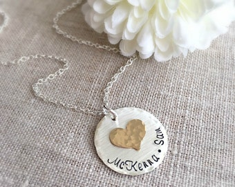 Mother Necklace . Personalized . Personalized Jewelry . Gift for Mom . Heart Necklace . Engraved Names