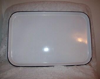 "Vintage White & Black Enamelware Medical Dental Sterilizing Tray 19"" Long Only 15 USD"