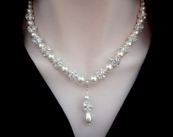 Pearl necklace, with a pendant and large sparkling crystal balls ~ Swarovski pearl necklace ~ Brides pearl necklace ~Wedding necklace ~HOLLY