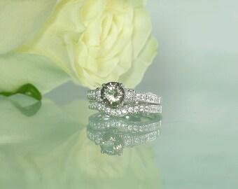 Engagement Set Silver, Gemstone Wedding Set, Silver Engagement Set, Sterling Engagement Set, Champagne Herkimer Diamond, Engagement Ring