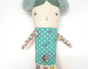 Fabric Doll, Rag Doll, Art Doll, Blue, Ballerina, Teal