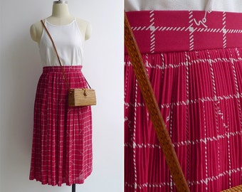 15% SALE (Code In Shop) - Vintage 80's Siren Call Red Plissé Pleated A-Line Skirt XXS or Xs