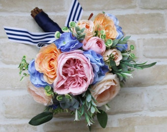 Bridal Wedding Bouquet. Roses, succulents, hydrangea, wildflowers and eucalyptus foliage.  Summer garden bouquet in pink, blue and coral