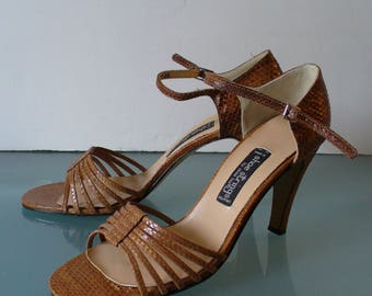 Vintage Shoe Strings Snake Skin Heeled Sandals