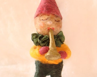 Spun cotton musical gnome ornament OOAK vintage craft by jejeMae