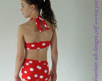 Bikini Pattern Ella Retro vintage swim suit pdf pattern Ella girls sizes 2-14 ebook tutorial swimsuit bikini