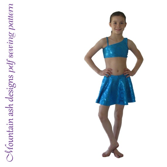 Millie pdf sewing pattern dance crop singlet tank shorts skirt costume girls sizes 2-14