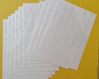 """Embossing Paper, 10 Pieces, White, 5"""" x 7"""", Fleur-de-lis"""