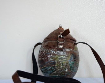 salvation armani vintage coconut purse - RARE - Full Coconut - hand carved and painted coconut purse - tourist bag - island scenes