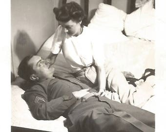 """Vintage Snapshot """"Saying Goodbye"""" Unmade Bed Pretty Girl WWII Soldier Found Vernacular Photo"""