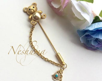 Newborn Baby Pin, Stroller Pin, Baby Evil Eye Pin, Stroller Pin, Baby Brooch, Teddy Bear Brooch, Bear Pin, Baby Shower Gift,