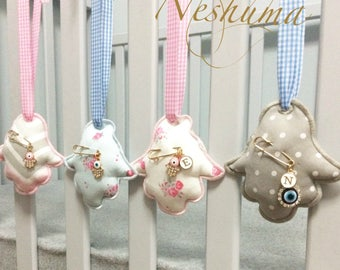 Nursery decor, Hamsa ornaments, Baby gifts, Hanging Baby Decor, Hanging Hamsa, Soft Fabric ornament, Baby Evil Eye Pin, Newborn Gift