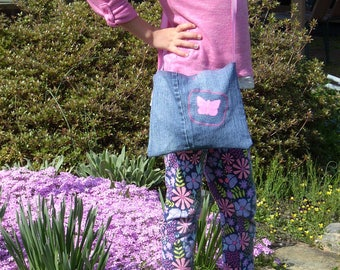 Butterfly Girls Purse, Kids Denim Handbag, Girls Crossbody Bag, Hand Painted Butterfly, Hippie Jean Bag, Fabric Handbag, Kids Pink Denim Bag