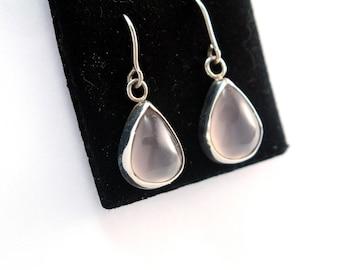 Pink Rose Quartz Earrings | Sterling Silver Earrings |  gemstone earrings | Blush Pink Earrings | TearDrop Earrings  Crystal earrings