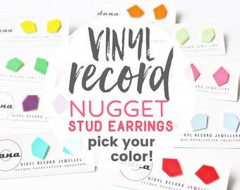 nugget post earrings unisex stud earrings colorful studs funky jewelry recycled jewelry flat studs minimalist studs vinyl record studs