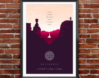 "Westworld inspired minimalist poster 12x18"""