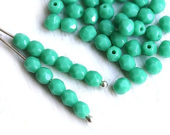 4mm Turquoise Fire polished czech glass beads, turquoise round spacers - 50Pc - 1032