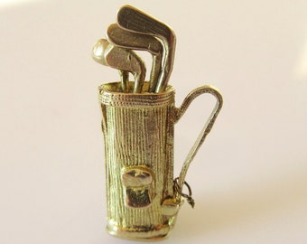9ct Gold Golf Clubs in Bag Moving Charm