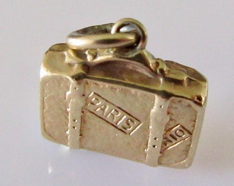 9ct Gold Suitcase Luggage Charm engraved Paris and Rio