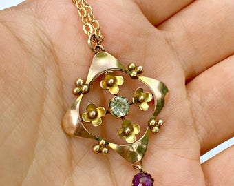 Antique 9ct Gold & Amethyst Art Deco Lavalier Drop Necklace
