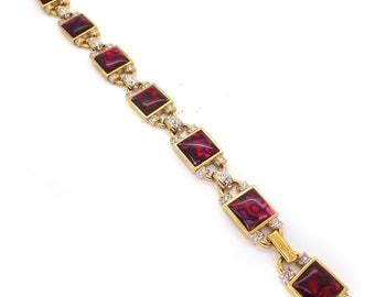 Vintage Gold Tone Marbled Pink Rhinestone Panel Bracelet