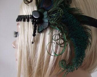 "Dark Green Black Peacock Feathers Flapper Headband Beaded Drops - ""Oma"" Gatsby Art Deco Fascinator 1920's Christmas New Years Eve Party Ball"