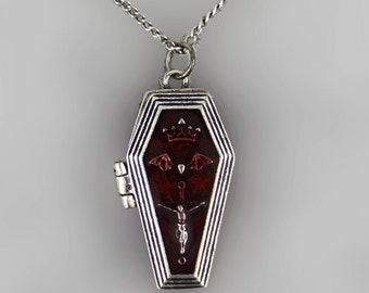 Gothic Coffin Locket Necklace