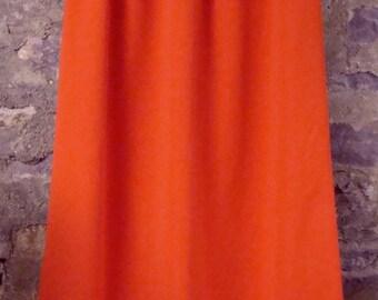 BRIGHT orangey-red MAXI SKIRT vintage 1970's 70's M tall