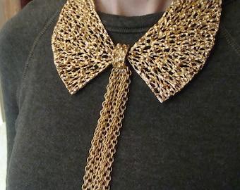 VINTAGE 1960's METAL COLLAR necklace goldtone 60's